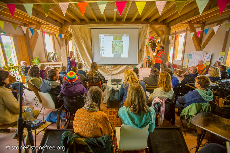 Workshop in barn at permaculture convergence