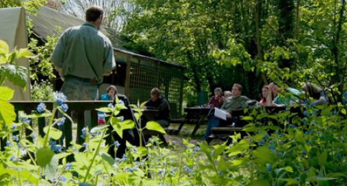 Students learning permaculture outdoors