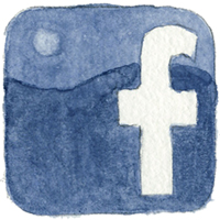 watercolour Facebook icon