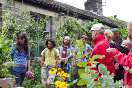 Permaculture Association members touring a permaculture garden - Those Plant People