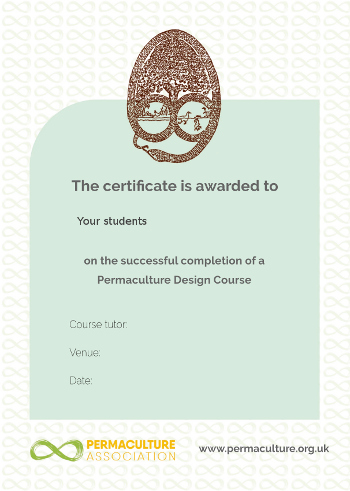 Permaculture Association PDC design course certificate preview