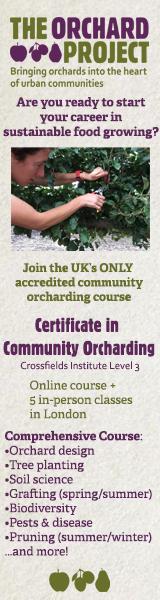 Banner advert for the Orchard Project community orcharding certificate 2020