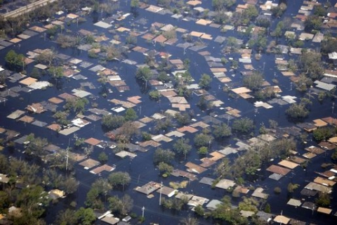 Houses surrounded by flood waters