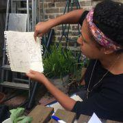 Forest garden student showing her design. Photo: Edible Landscapes London